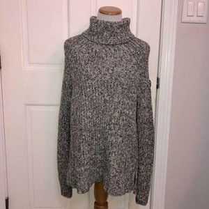 Old Navy Black/White Marble Turtleneck Sweater